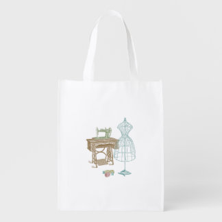 Vintage Dressmaker Kit Illustration Grocery Bag