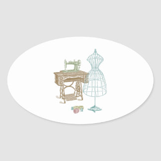 Vintage Dressmaker Kit Illustration Oval Sticker