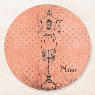 Vintage Dressmaker Round Paper Coaster