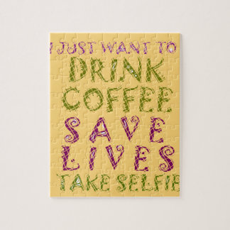 Vintage Drink coffee Save Lives and Take Selfies Jigsaw Puzzle