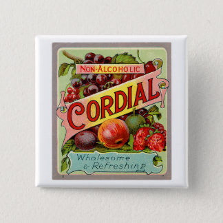 Vintage Drink Label Non Alcoholic Cordial Pinback Button