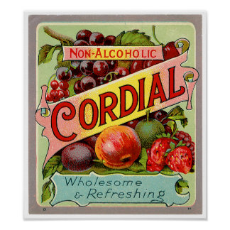 Vintage Drink Label Non Alcoholic Cordial Poster