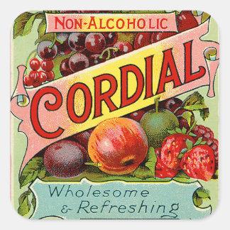 Vintage Drink Label Non Alcoholic Cordial Square Sticker