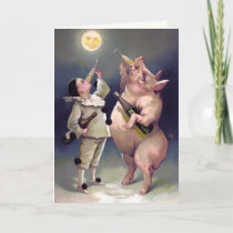Vintage Drinking Pig Christmas Card