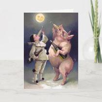 Vintage Drinking Pig Christmas Card