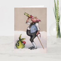 Vintage Drinking Pig Holiday Card