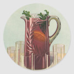 Vintage Drinks and Beverages, Pitcher of Iced Tea Classic Round Sticker