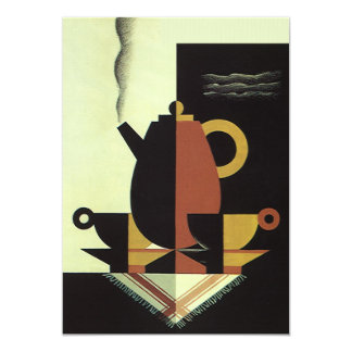 Vintage Drinks Beverages Coffee Pot with Cups 5x7 Paper Invitation Card