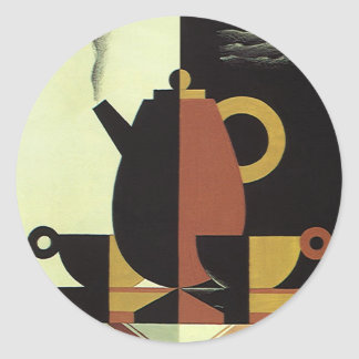 Vintage Drinks Beverages Coffee Pot with Cups Classic Round Sticker