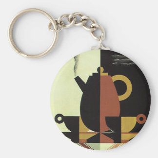 Vintage Drinks Beverages Coffee Pot with Cups Keychains