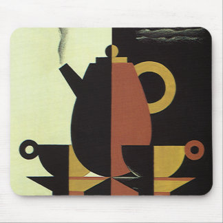 Vintage Drinks Beverages Coffee Pot with Cups Mouse Pad