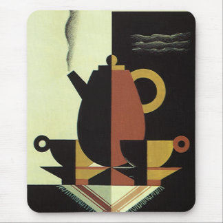 Vintage Drinks Beverages Coffee Pot with Cups Mousepads