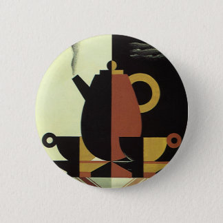 Vintage Drinks Beverages Coffee Pot with Cups Pinback Button