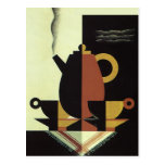 Vintage Drinks Beverages Coffee Pot with Cups Post Card