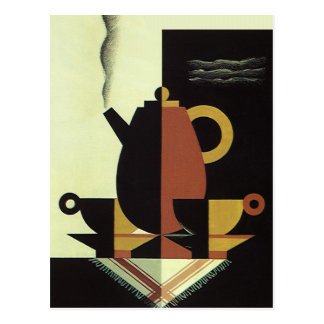 Vintage Drinks Beverages Coffee Pot with Cups Postcard