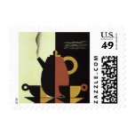 Vintage Drinks Beverages Coffee Pot with Cups Stamp
