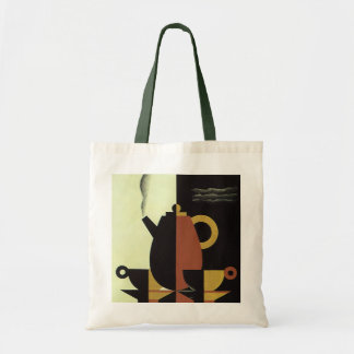 Vintage Drinks Beverages Coffee Pot with Cups Tote Bag