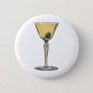 Vintage Drinks Beverages, Martini Olive Cocktail Pinback Button