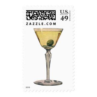 Vintage Drinks Beverages, Martini Olive Cocktail Postage Stamp