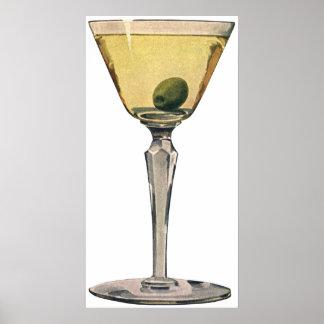 Vintage Drinks Beverages, Martini Olive Cocktail Poster