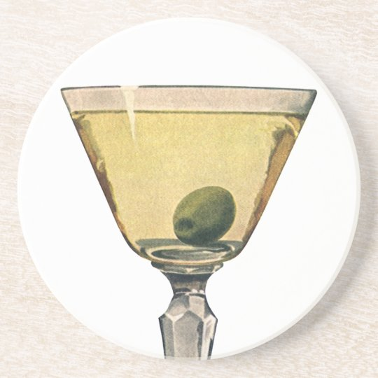 Vintage Drinks Beverages, Martini Olive Cocktail Sandstone Coaster