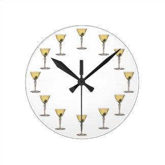 Vintage Drinks Beverges Cocktail Martini Olive Round Clock