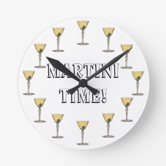 Vintage Drinks Beverges Cocktail Martini Olive Round Wall Clock