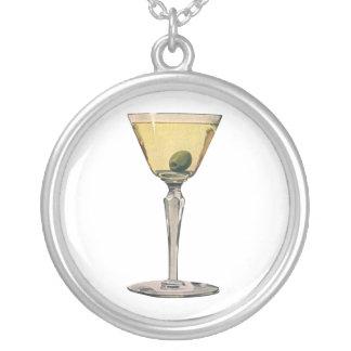 Vintage Drinks Beverges Cocktail Martini Olive Round Pendant Necklace