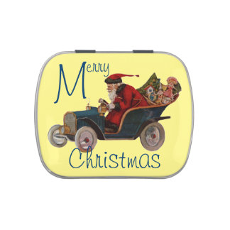 Vintage Driving Santa Candy Tin