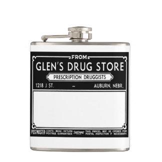 Vintage Drugstore Label Flask