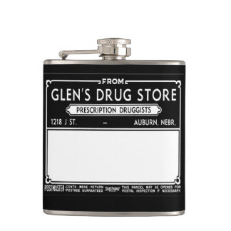 Vintage Drugstore Label Hip Flask