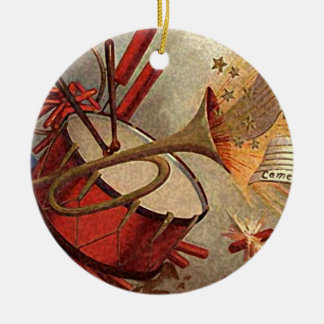 vintage drum and trumpet decor Double-Sided ceramic round christmas ornament