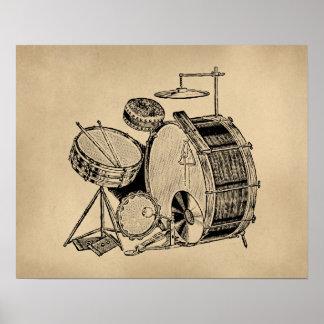 Vintage Drum Kit Drums Posters