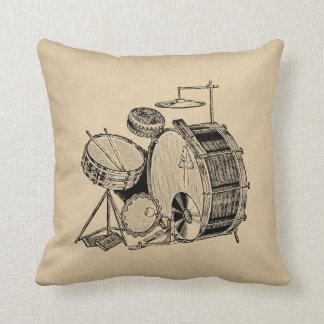 Vintage Drum Kit Drums Throw Pillow