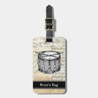 Vintage Drum Music Luggage Tag