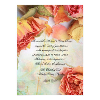 Vintage dry roses wedding 5.5x7.5 paper invitation card