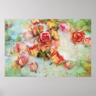 Vintage dry roses wedding poster