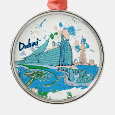 Vintage Dubai Us E Design Metal Ornament at Zazzle