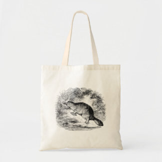 Vintage Duck Billed Platypus Personalized Animals Budget Tote Bag