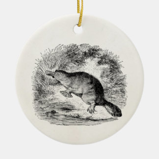Vintage Duck Billed Platypus Personalized Animals Double-Sided Ceramic Round Christmas Ornament