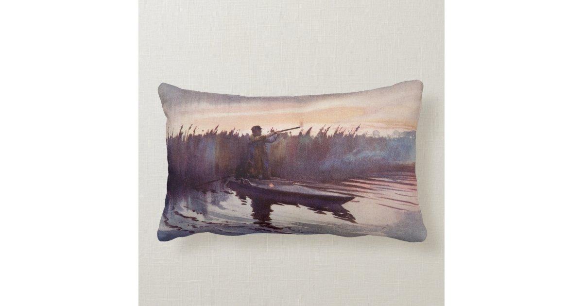 Vintage Duck Hunt Lake Sportsman Home Decor Pillow Zazzle