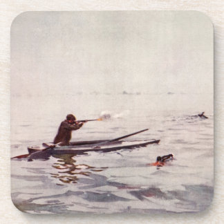 Vintage Duck Hunting Sea Kayak Cork Drink Coaster