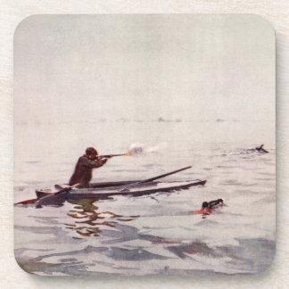Vintage Duck Hunting Sea Kayak Cork Drink Coaster