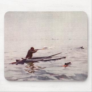 Vintage Duck Hunting Sea Kayak Sportsman Mousepad