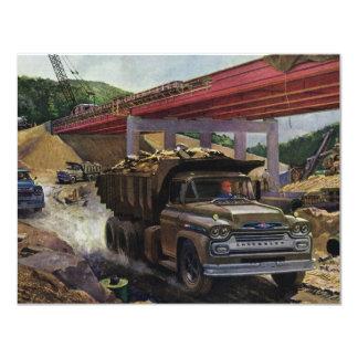 Vintage Dump Truck on a Construction Site Custom Invitations