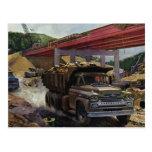 Vintage Dump Truck on a Construction Site Postcards
