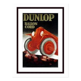 Vintage Dunlop Ballon Cord Auto Parts Ad Postcard