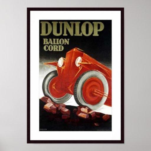 Vintage Dunlop Ballon Cord Auto Parts Ad Poster