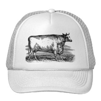 Vintage Durham Cow Bull Personalized Illustration Trucker Hat
