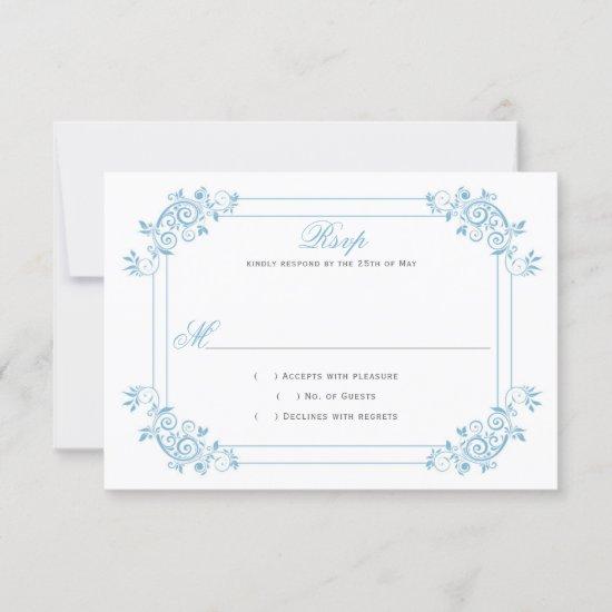 Vintage Dusk Blue / Light Blue Floral Swirls RSVP Card